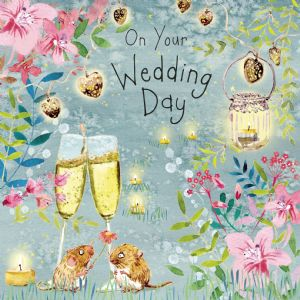 FIZ82  Wedding Day Card Field Mice